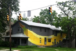 "The aptly named ""banana house."""