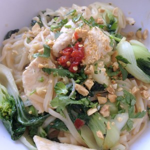 Pad Thai with chicken and baby bok choi. Yum.